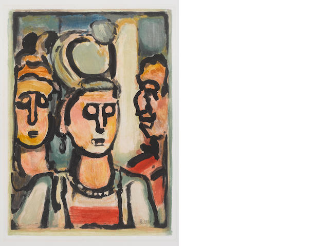 Georges Rouault (French, 1871-1958) From Les Fleurs du Mal: Trio Aquatint in colours, 1938, on Montval wove, a fine impression of Chapon/Rouault's second and final state, the etat definitif, from the edition of 250, with full margins, 280 x 215mm (11 3/4 x 8 1/2in)(I)