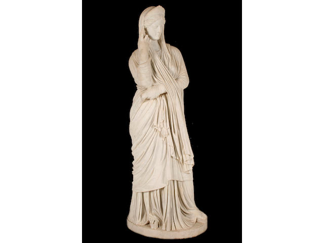 A 19th century Italian carved white marble figure of a classical maiden possibly Agrippina