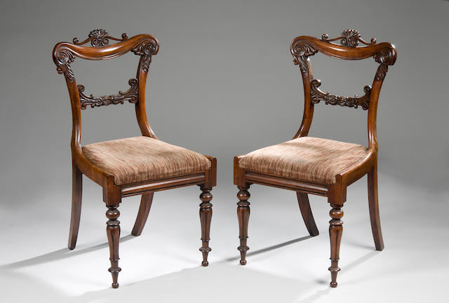A set of six Regency rosewood dining chairs probably Scottish