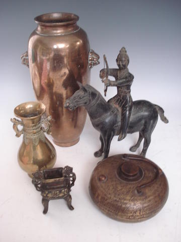A Shisu inlaid bronze vase and other items 19th century