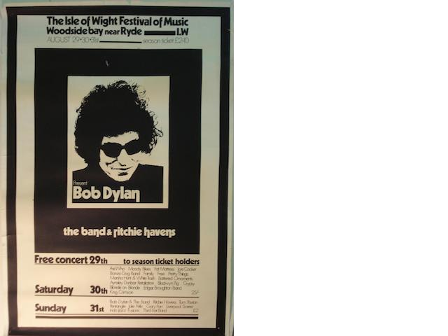 Bob Dylan: a 1969 Isle Of Wight Festival poster and others,