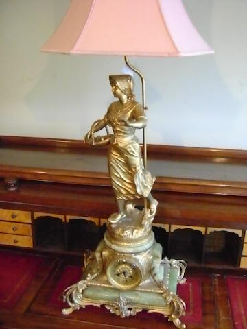 A large decorative French gilt spelter and green onyx mantelclock,