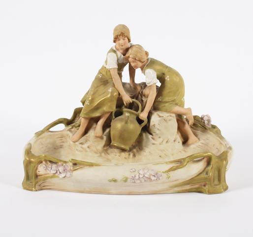 A Royal Dux figural centrepiece
