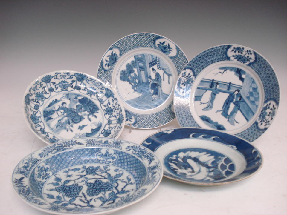 Five Chinese blue and white plates 18th century