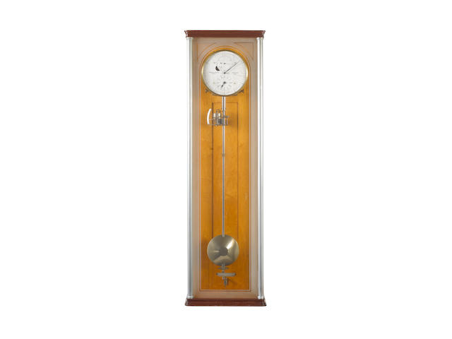 A fine and rare early 20th century frosted glass and burr maple cased electrically-driven wall mounted regulator with J-type barometric pendulum  Clemens Riefler, Munchen, 1920, No 431,