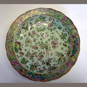 A large Chinese famille rose dish  19th Century