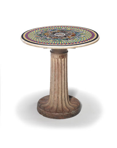 A rare Italian early 19th century white marble, micromosaic and Roman Antique polychrome glass table top, on a 200 A.D. Antique marble base attributed to Francesco Sibilio, Roma