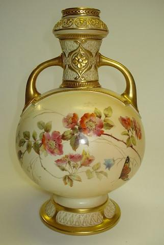 A Royal Worcester twin handled blush ivory vase Dated 1891