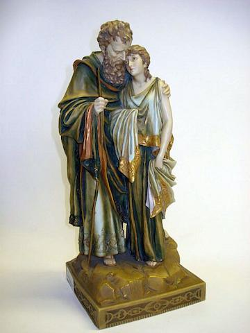 An Austrian Turn Wein Figure group, by Ernst Wahliss  Circa 1900