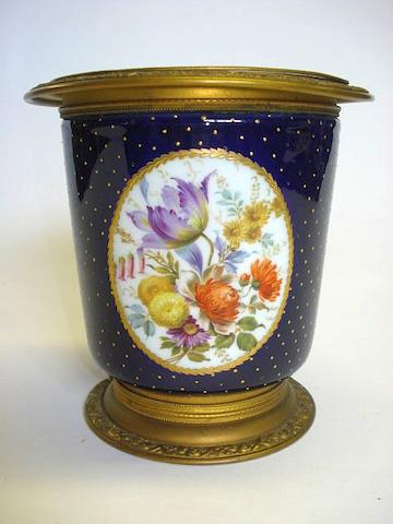 A Sèvres style metal mounted cache pot  Late 19th Century