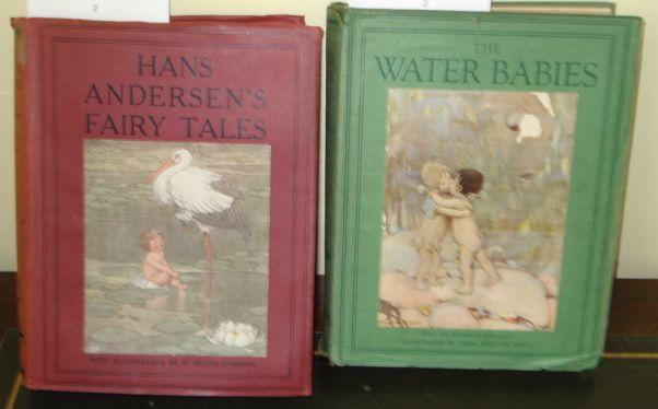 Volume:  Hans Anderson's Fairy Tales, tipped-in illustrations by William Heath Robinson, dust cover, no date and another Charles Kingsley 'The Water Babies', illustrated by Jessie Willcox Smith, dust cover, both published by Hodder & Stoughton for Boots Ltd. (2)