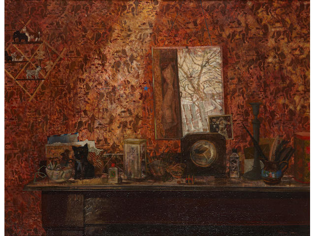 "Victoria Crowe, OBE, ARSA (Scottish, born 1945) ""Mantelpiece with winter sunlight"""