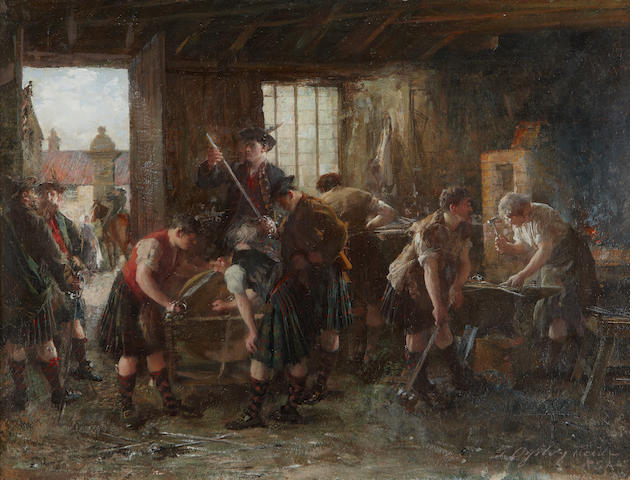 "George Ogilvy Reid, RSA (British, 1851-1928) ""On the Road to Derby- Sharpening Swords"""