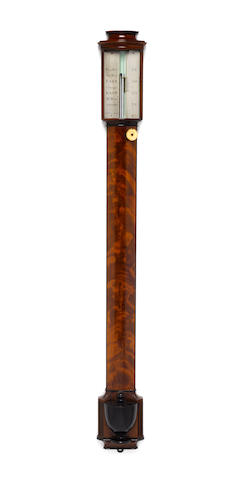 An early 19th century mahogany bow fronted flat to the wall stick barometer Matthew Berge, London