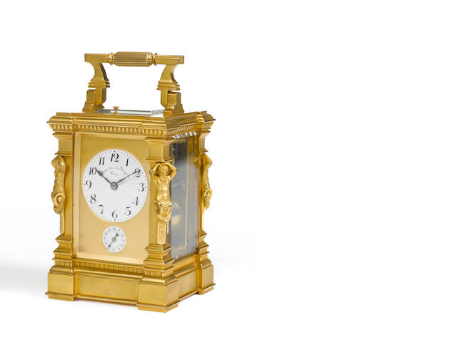 A late 19th century French gilt bronze 'caryatid' case carriage clock Giteau Eleve de Breguet