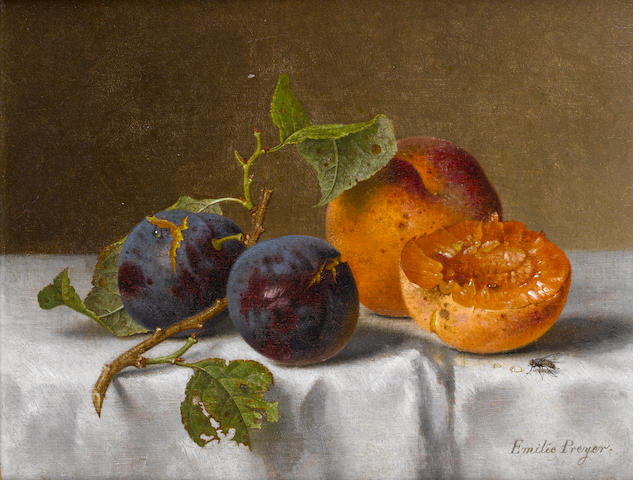 Emilie Preyer (German, 1849-1930) Plums and apricots