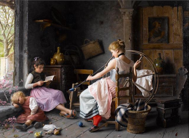 Giovanni Battista Torriglia (Italian, 1858-1937) The spinning wheel