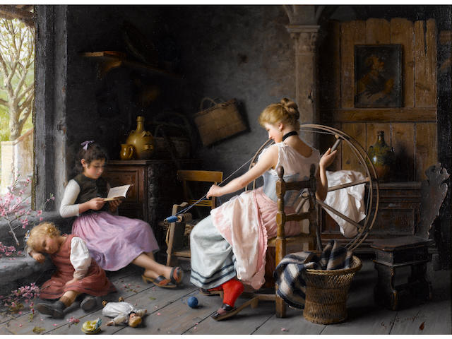 Giovanni Battista Torriglia (Italian, 1858-1937) The spinning wheel