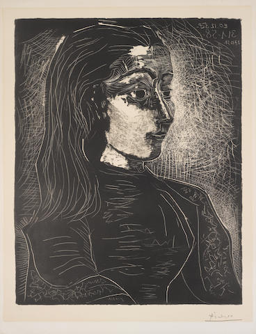 Pablo Picasso (Spanish, 1881-1973) Jacqueline de Profil à droite  Lithograph, 1958, the third and final state, on wove, signed and numbered 16/50 in pencil, 657 x 502mm (25 3/4 x 19 3/4in)(SH)