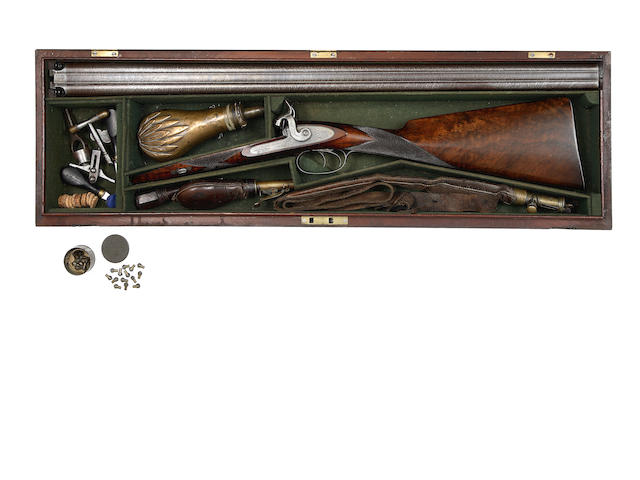 A Rare Cased 16-Bore D.B. Sporting Gun For 'Mushroom' Percussion Primers