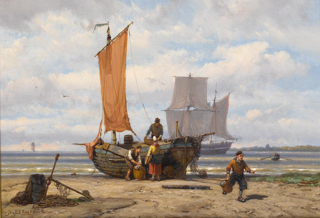 (n/a) Johannes Hermanus Barend Koekkoek (Dutch, 1840-1912) Unloading the catch