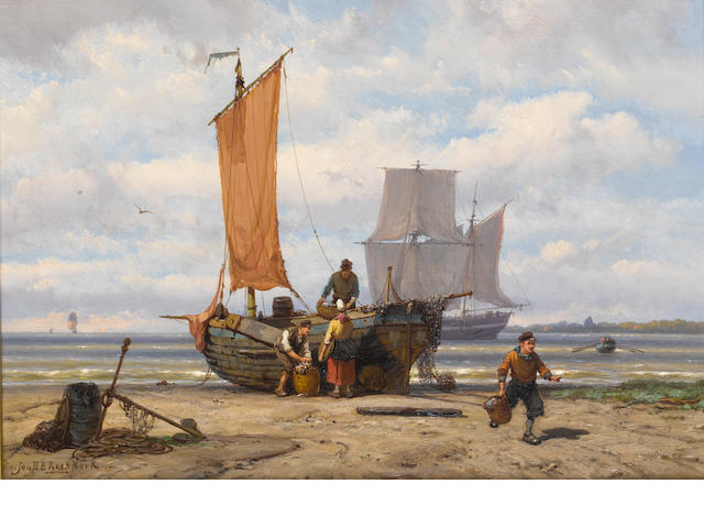 Johannes Hermanus Barend Koekkoek (Dutch, 1840-1912) Unloading the catch