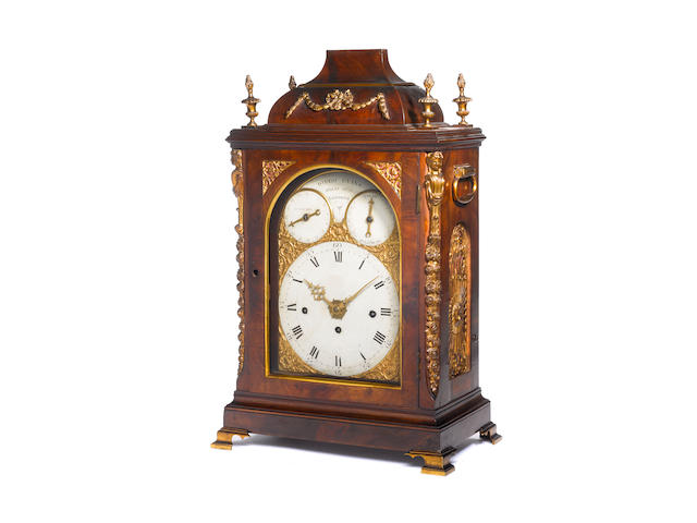 A late 18th century mahogany cased Spanish market chiming bracket clock with trip repeat James Evans, London