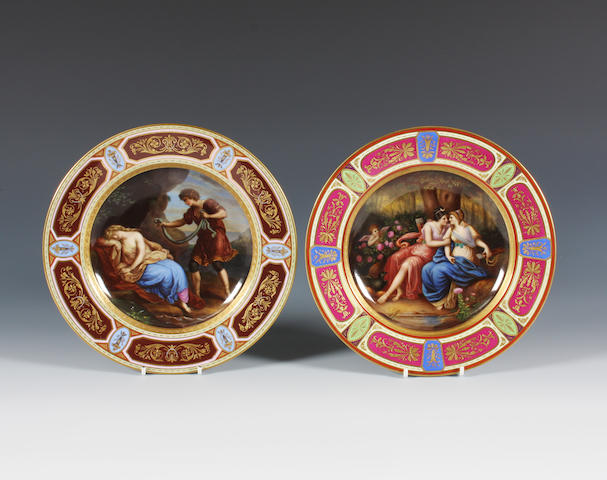 Two Vienna style plates Circa 1900.