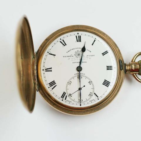 A 9ct gold hunter pocket watch,