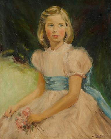 Sir Stanley Cursiter, CBE RSA RSW (British, 1887-1976) Girl with a posy