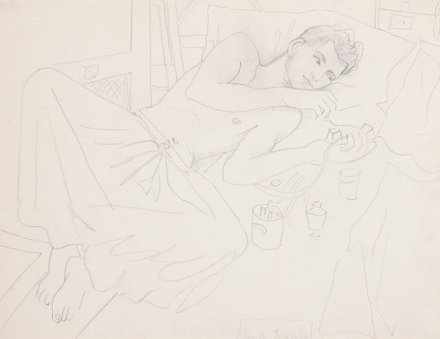 Jean Cocteau (French, 1892-1963) Marcel Khill couche fumant l'opium
