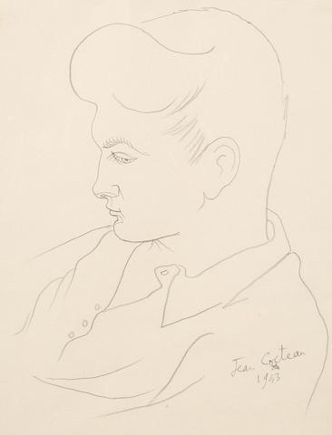 Jean Cocteau (French, 1892-1963) Jean Marais in profile
