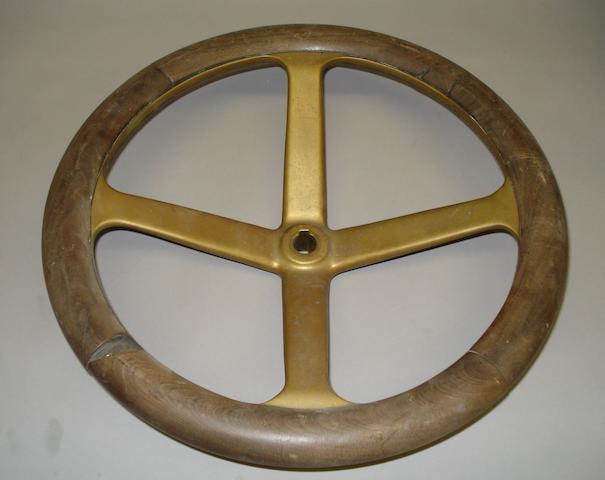 An Edwardian steering wheel,