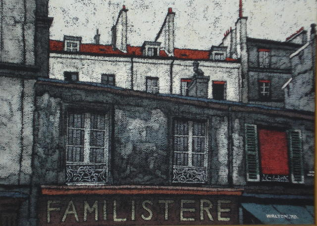 Stuart Walton (British, born Leeds 1934) Familistere Windows and rooves above a French shop,