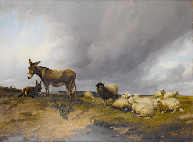 Thomas Sidney Cooper, RA (British, 1803-1902) Donkeys with a flock of sheep on heathland