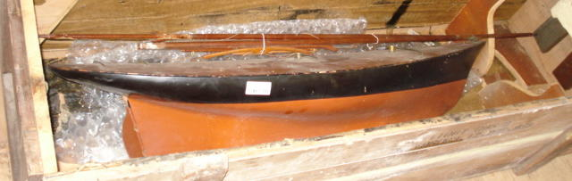 An early schooner rigged pond yacht hull 43.5x11.5x10.5in (110x29x27cm)