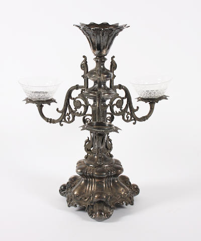A Victorian electroplated dining table centre-piece  By J Dixon and Sons,