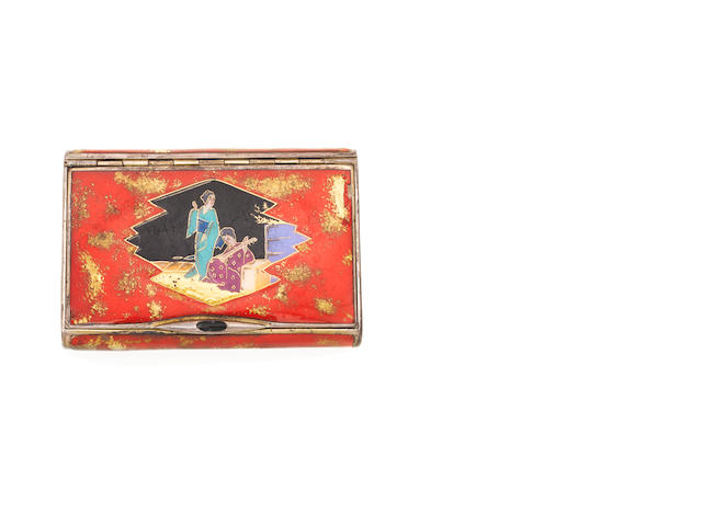 An early 20th century silver and enamelled cigarette case, apparently unmarked,