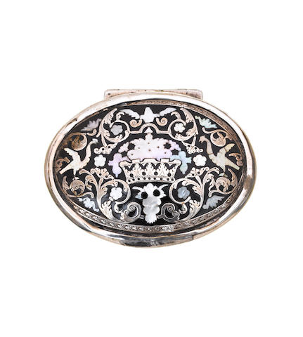 A mid 18th century silver and lac burgauté oval snuff box, unmarked,