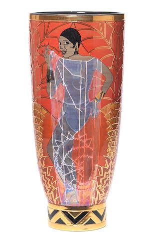Sally Tuffin 'Josephine Baker' Lustred and gilt vase