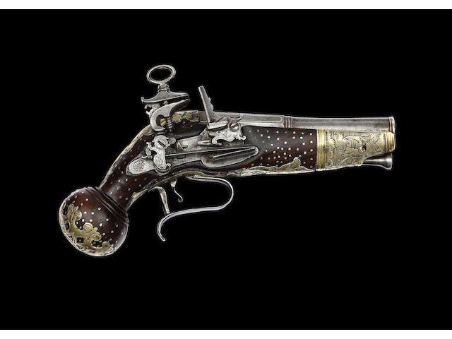 A Rare Neapolitan 32-Bore Brass-Mounted Miquelet-Lock Belt Pistol