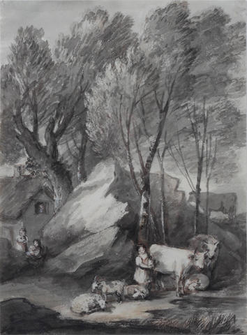 Attributed to Thomas Barker of Bath (Pontypool 1769-1847 Bath) Figure and livestock before a cottage
