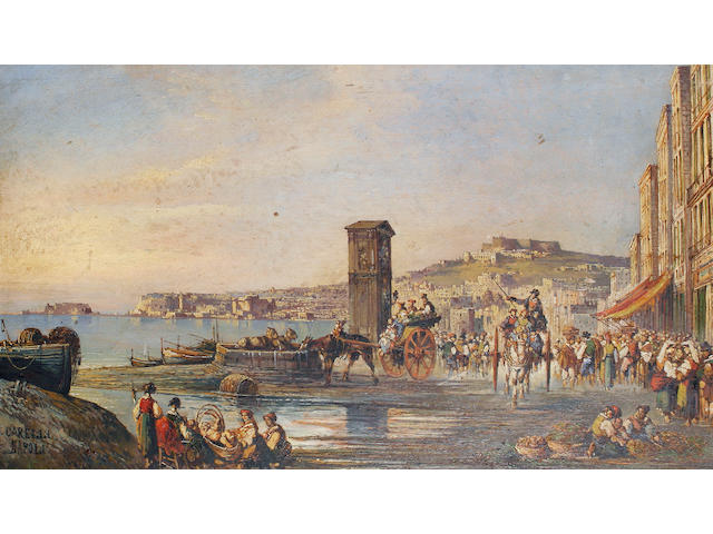 Giuseppe Carelli (Italian, 1858-1921) A busy day on the waterfront, Naples
