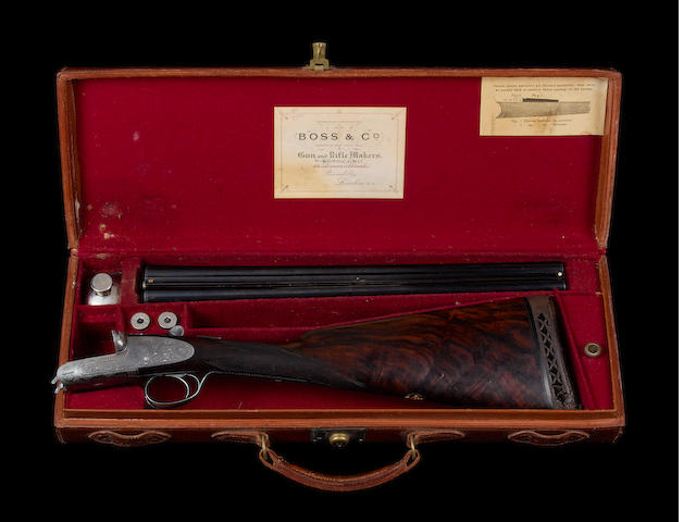 A 20-bore (3in) single-trigger assisted-opening sidelock ejector gun by Boss & Co., no. 7788 The original barrels in their leather case with makers accessories; the later Boss barrels in their leather case with some accessories; and the Callens et Mode barrels in a Pony leather tube