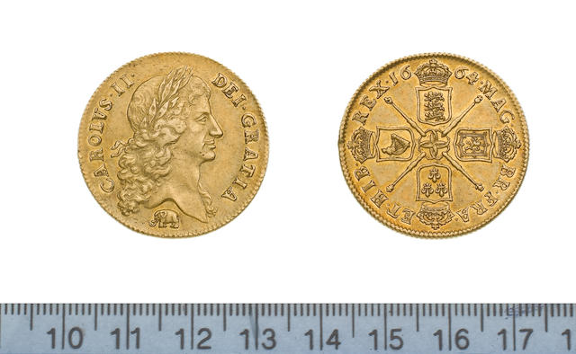 Charles II, 1660-85, Two Guineas, 1664, first laureate bust right with elephant below,