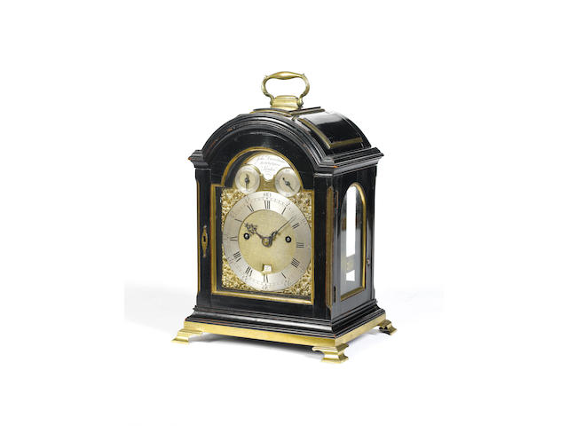 A good early 19th century ebonised triple pad bracket clock of small size John Dwerrihouse, Berkeley Square