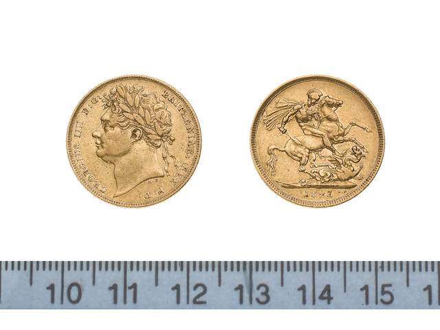 George IV, Sovereign, 1825, laureate head left,