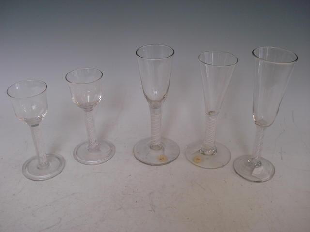 An opaque twist ale glass Circa 1760