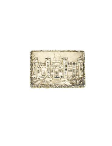 A William IV silver-gilt 'Windsor Castle' castle top vinaigrette, by Nathaniel Mills, Birmingham 1837,
