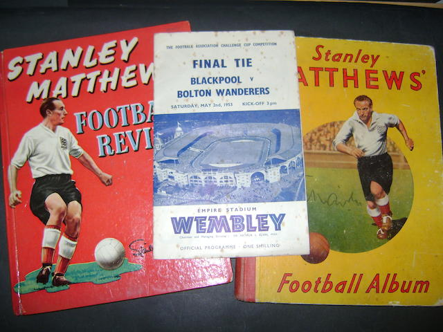 A collection of Stanley Matthews hand signed items
